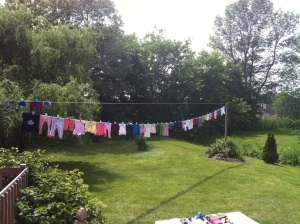 The clothesline in our backyard after hubby's hard work!