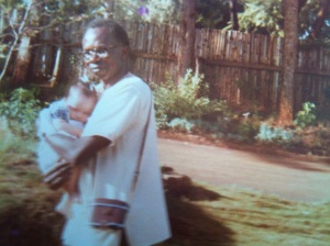 My dad and I at our Kitisuru house in Nairobi, Kenya (1981).