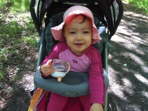 My daughter and I going walkabout in the woods (before the mosquitoes descended upon us!)
