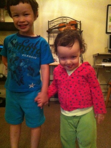 Caleb with Naomi (who is looking particularly mischievous in this photo!)