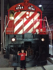 Caleb at the Exporail train museum in Saint Constant, Québec