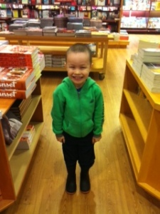 An excited Caleb at Chapters