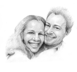 Our hand made wedding invitation. This sketch of us was drawn by my mother-in-law in 2007.