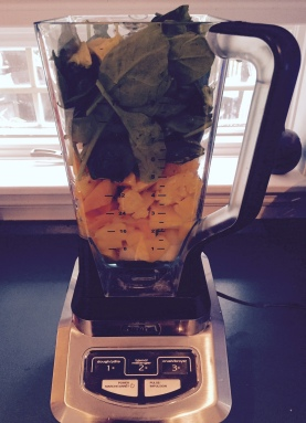 Add 1/2-1 cup water, 1 cup roughly chopped mango, 1 cup roughly chopped pineapple, 1 avocado and 2-3 cups baby spinach to a blender