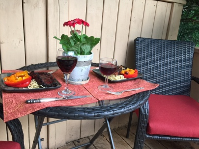 Dinner for two on the deck...kids were with friends for the weekend!